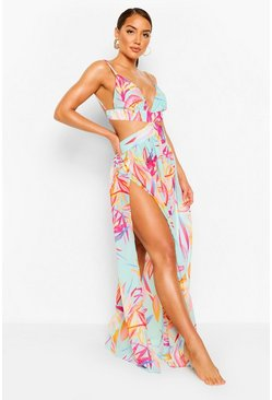 Vestido playero cut-out de hojas tropicales, Multicolor