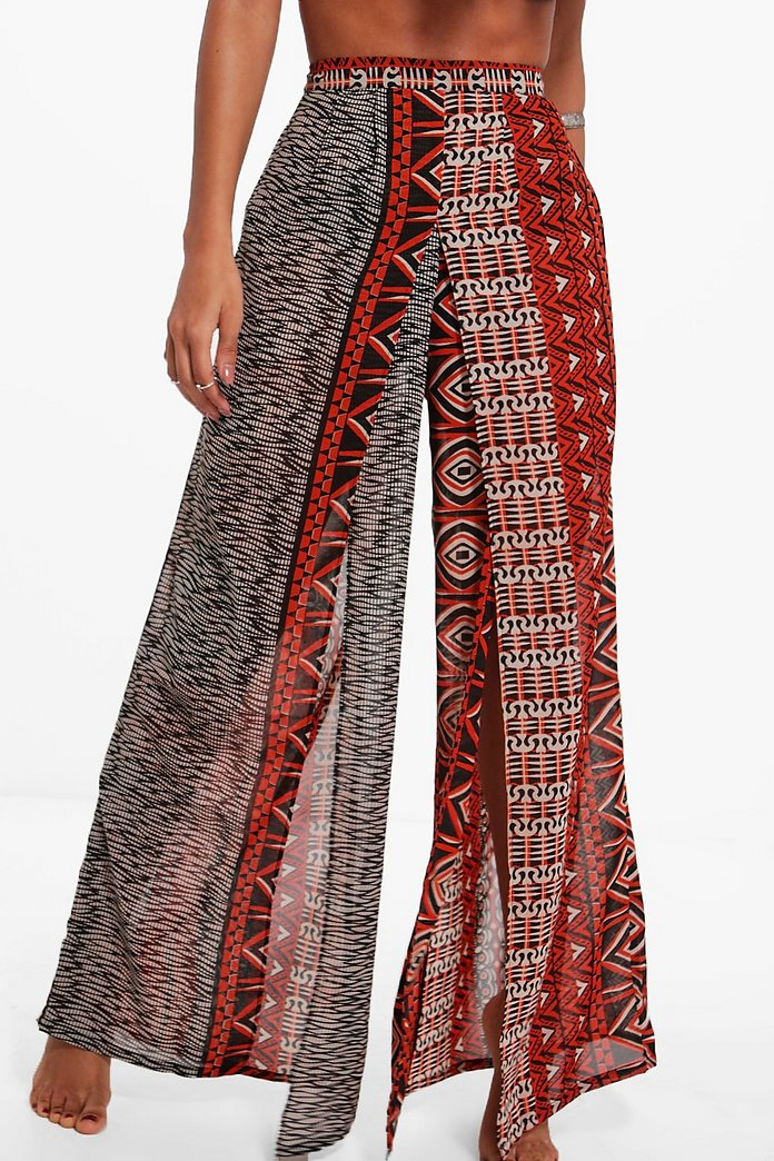503af73b4c Gracie Burnt Aztec Split Leg Beach Trouser | Boohoo