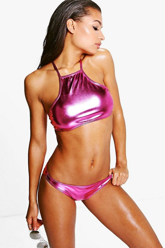 Miami Metallic Cropped Criss Cross Bikini