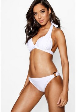 Womens White Moulded Push Up Plunge Enhance Triangle Bikini