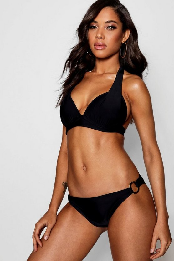 Black Moulded Enhance Triangle Bikini