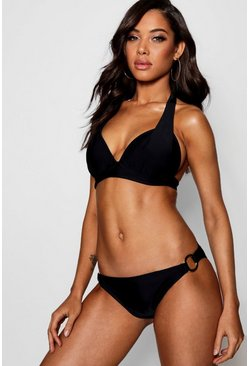 Womens Black Moulded Enhance Triangle Bikini