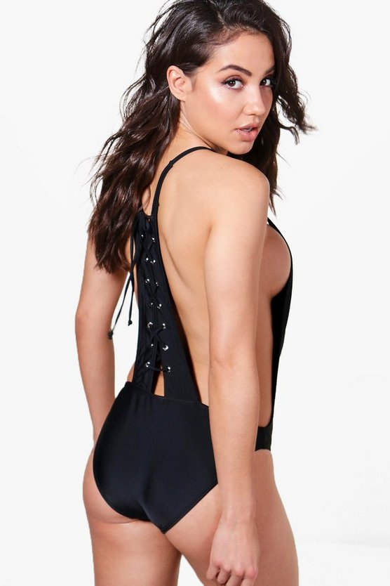 Racer Back Lace Up Swimsuit