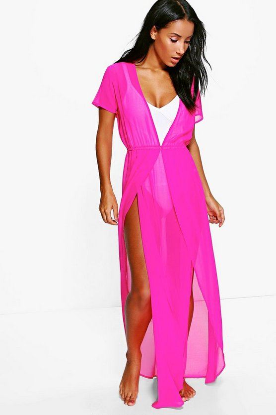 Womens Raspberry Split Leg Maxi Beach Kaftan