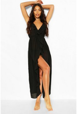 Womens Black Frill Split Maxi Beach Dress