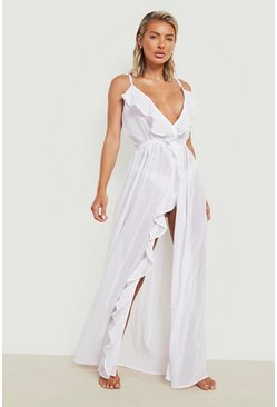 Womens White Frill Split Maxi Beach Dress