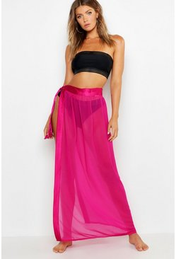 Raspberry Lilly Satin Tie Beach Sarong