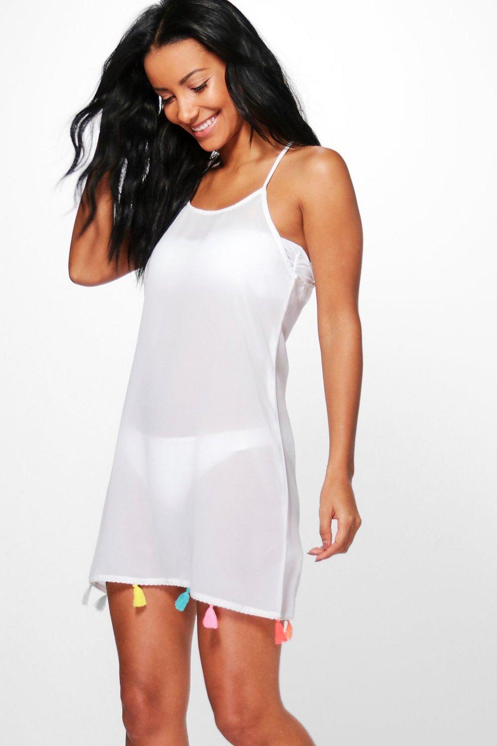 0af7200d9ef5 Womens White Imogen Tassel Beach Dress