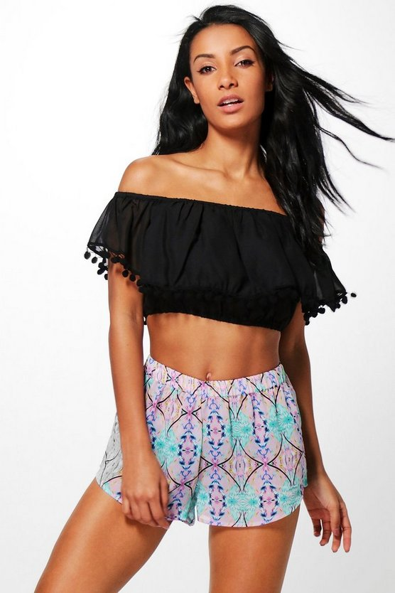 Womens Pink Emily Mirror Contrast Tassel Beach Co-ord