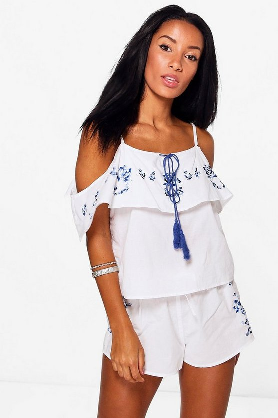 Boutique Floral Embroidered Beach Co-ord