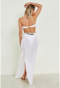 Womens White Lexi Bride Embroidered Beach Sarong