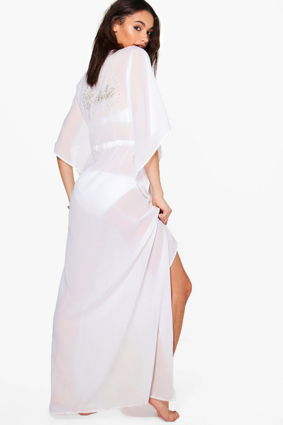 e01e54ad53 Womens White Eva Bridal Embroidered Maxi Beach Kaftan. Hover to zoom