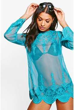Womens Turquoise Anna Embroidered Beach Kaftan