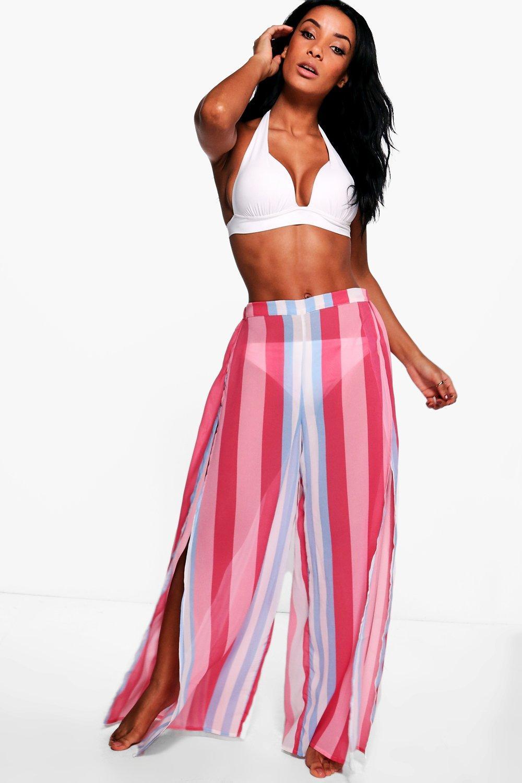 5b520947b3ec Grace Candy Stripe Split Leg Beach Trouser | Boohoo