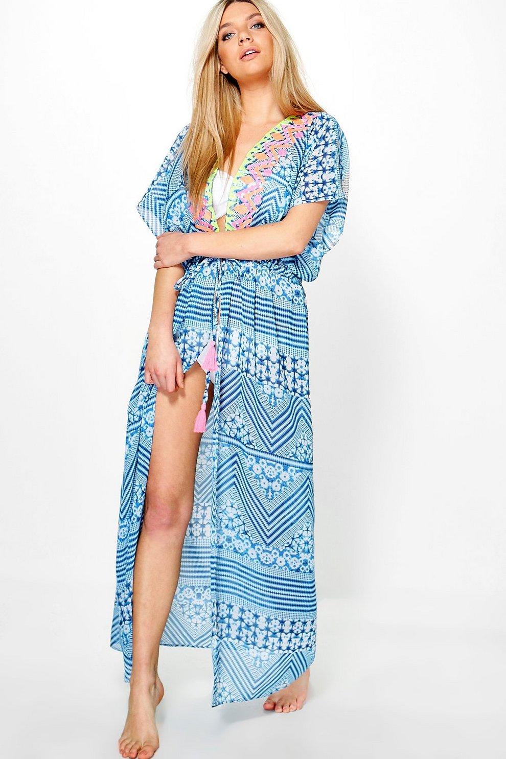00a40f683a Freya Neon Embroidered Maxi Beach Kaftan