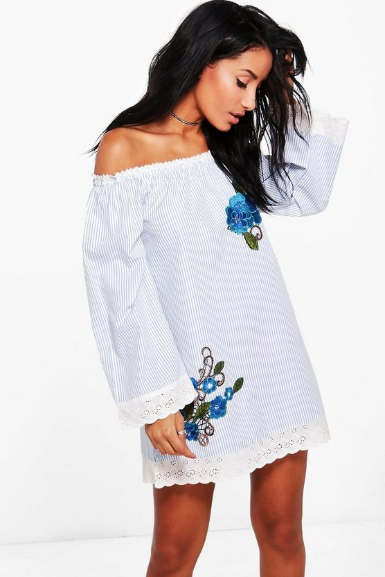 Mia Floral Embroidered Bardot Beach Dress