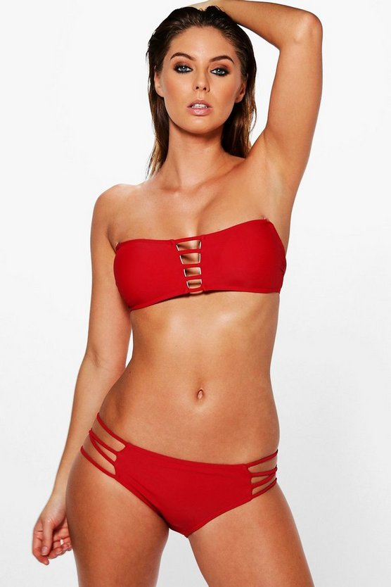 Womens Red San Diego Mix and Match Strappy Bikini Brief