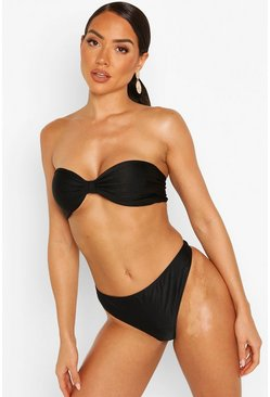 Womens Black Gathered Brazilian Thong Bikini Brief