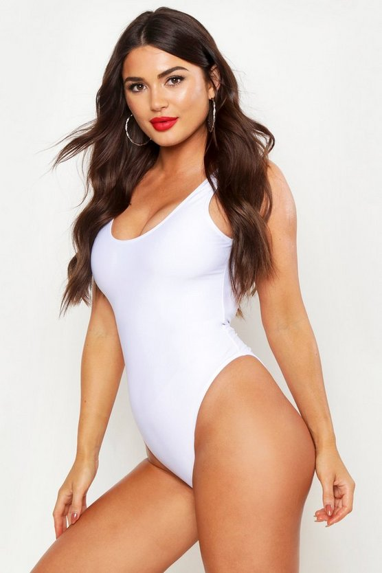 Womens White Scoop Back Swimsuit