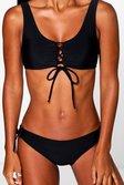 fc3f0c09360 ... Womens Black Menorca Eyelet Lace Up Bikini alternative image