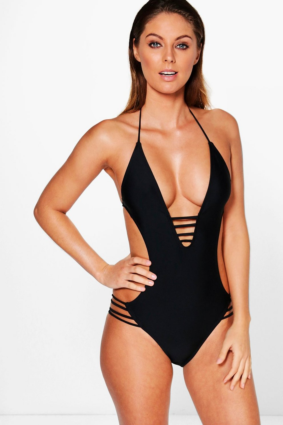 5f0746d32f0b Strappy Open Back Swimsuit | Boohoo