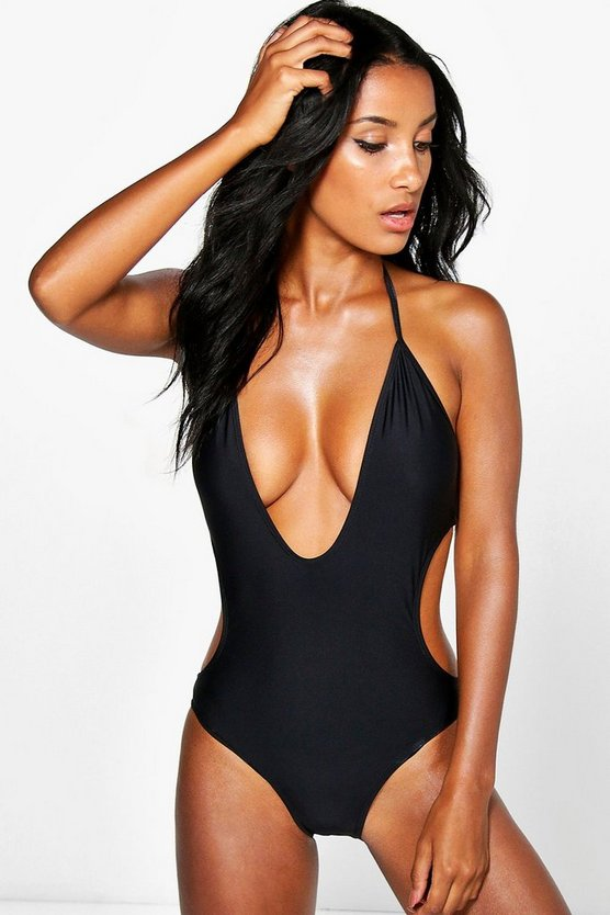 Black Deep Plunge Swimsuit