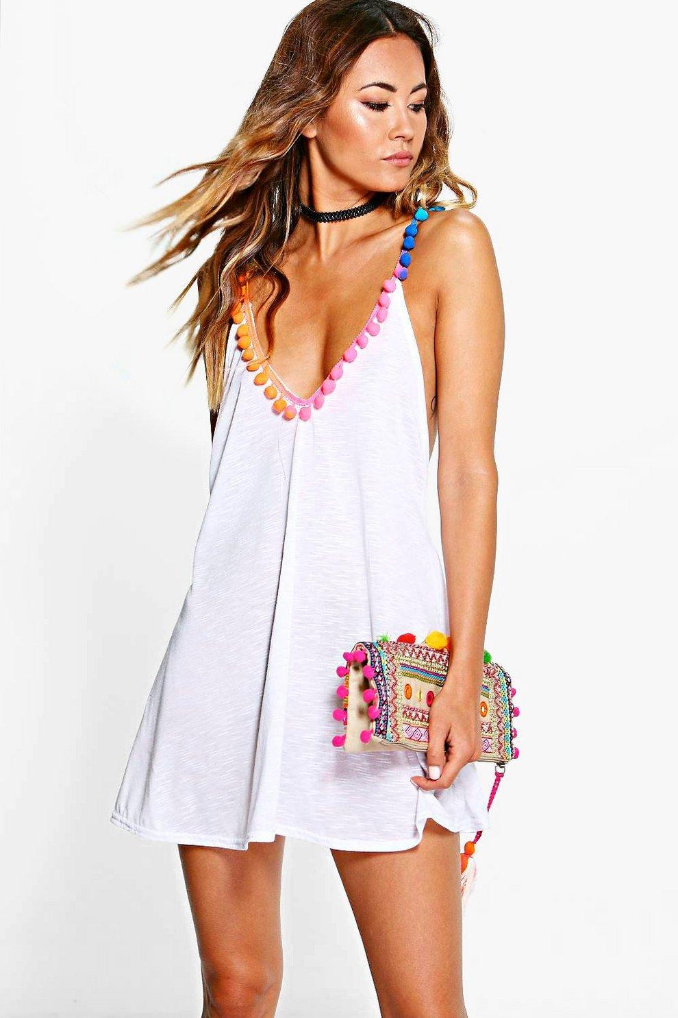 9cda1a405f Maisie Multi Coloured Pom Pom Beach Dress | Boohoo
