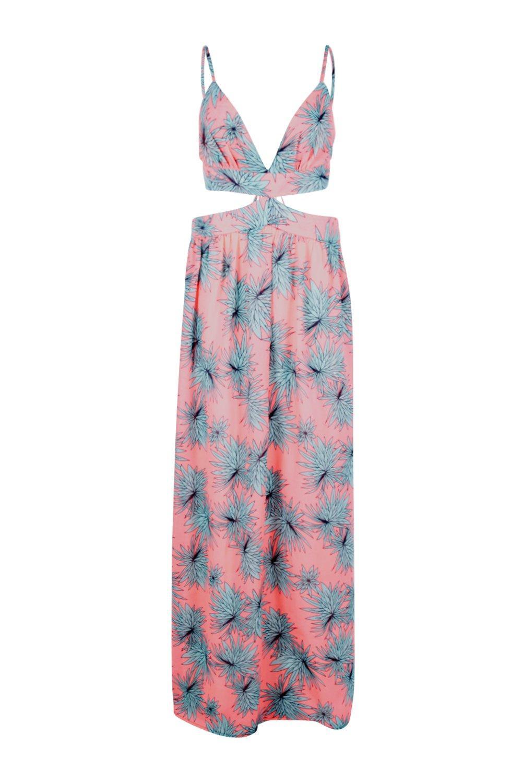 Maxi Dress Out Tropical coral Cut Leaf qFz4TWwg0x