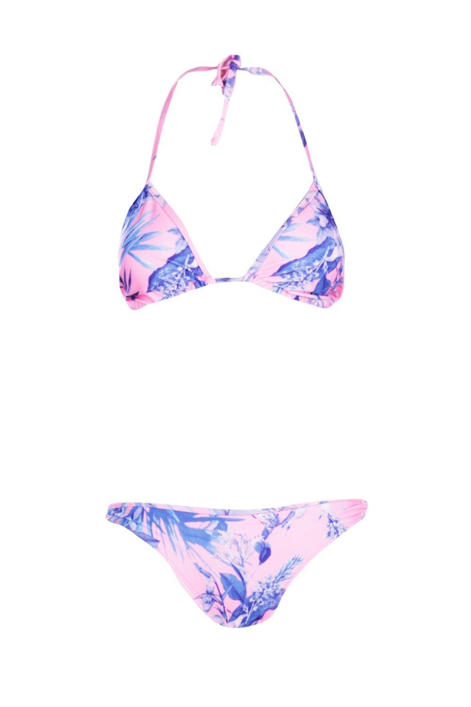 Floral pink Photo Floral Bikini Triangle Photo Bikini Triangle pink OX8Xwqr