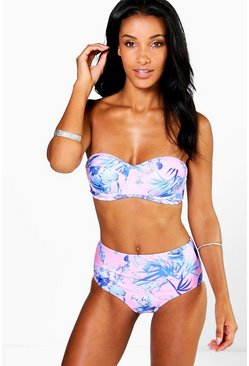 Womens Pink Photo Floral Underwired High Waist Bikini