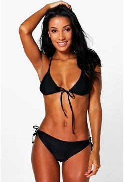 Womens Black Rose Caged Back Triangle Bikini