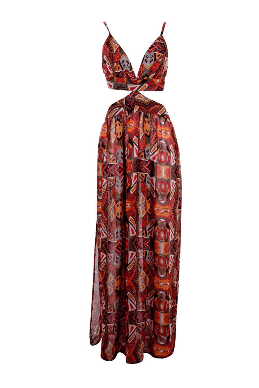 f999e80e88 Womens Multi Grace Tribal Print Cut Out Beach Maxi Dress. Hover to zoom.  Close video