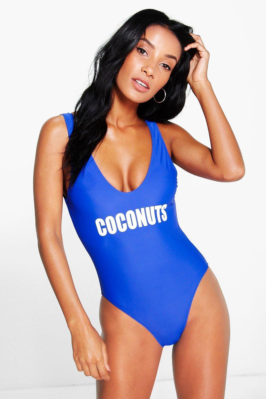 Monaco Coconuts Scoop Back Slogan Swimsuit. Hover to zoom