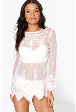 Cream Gracie Embroidered Long Sleeve Beach Kaftan