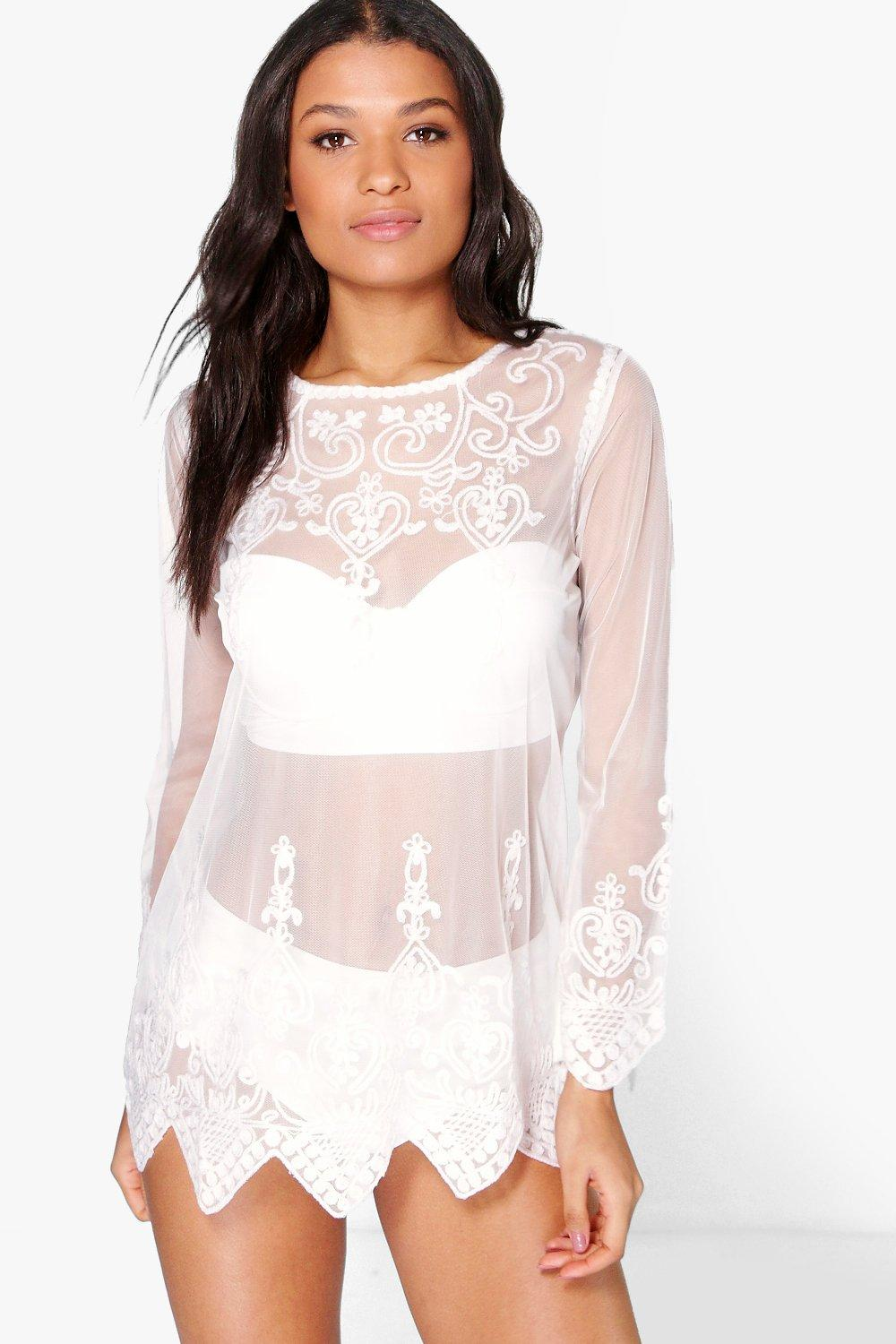 bcc7337e8f Womens Cream Gracie Embroidered Long Sleeve Beach Kaftan. Hover to zoom