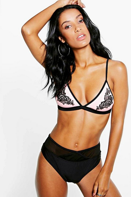 Boutique Mesh Applique Triangle Bikini