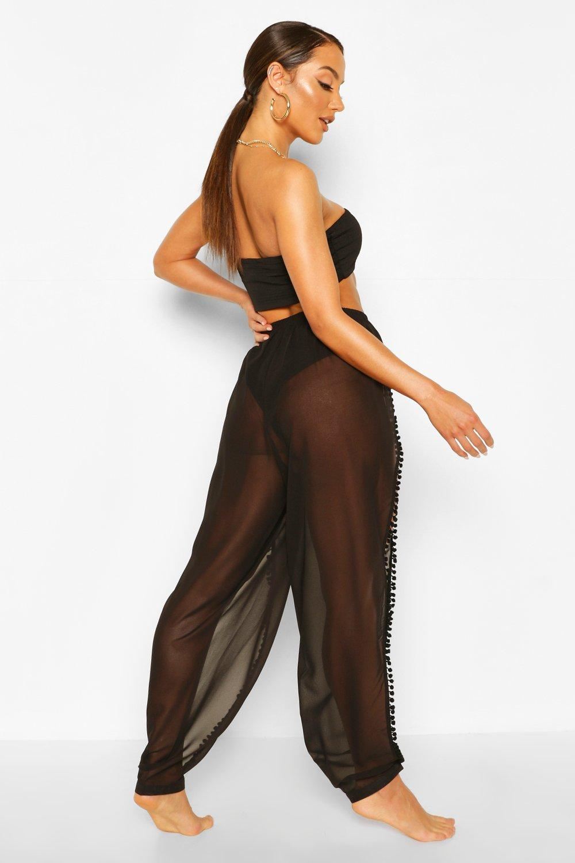 Beach black Pom Trouser Split Pom xS18qH0wq