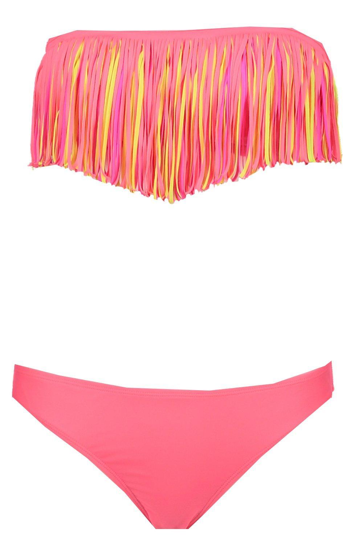 boohoo womens murcia neon fringe bandeau bikini in neon pink size 6 ebay. Black Bedroom Furniture Sets. Home Design Ideas