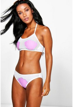 Womens White Paris Mesh Shell Bikini