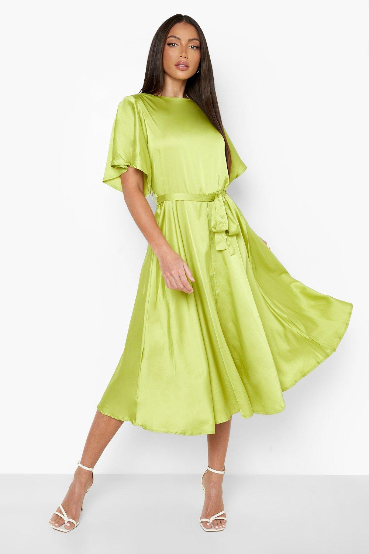 70s Sequin Dresses, Disco Dresses Womens Tall Satin Midi Skater Dress - Yellow - 14 $80.00 AT vintagedancer.com