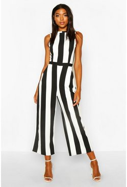 Womens Black Tall Monochrome Stripe Jumpsuit