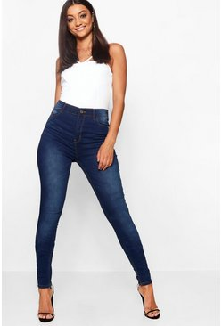 Womens Dark blue Tall Mid Rise Skinny Jeans