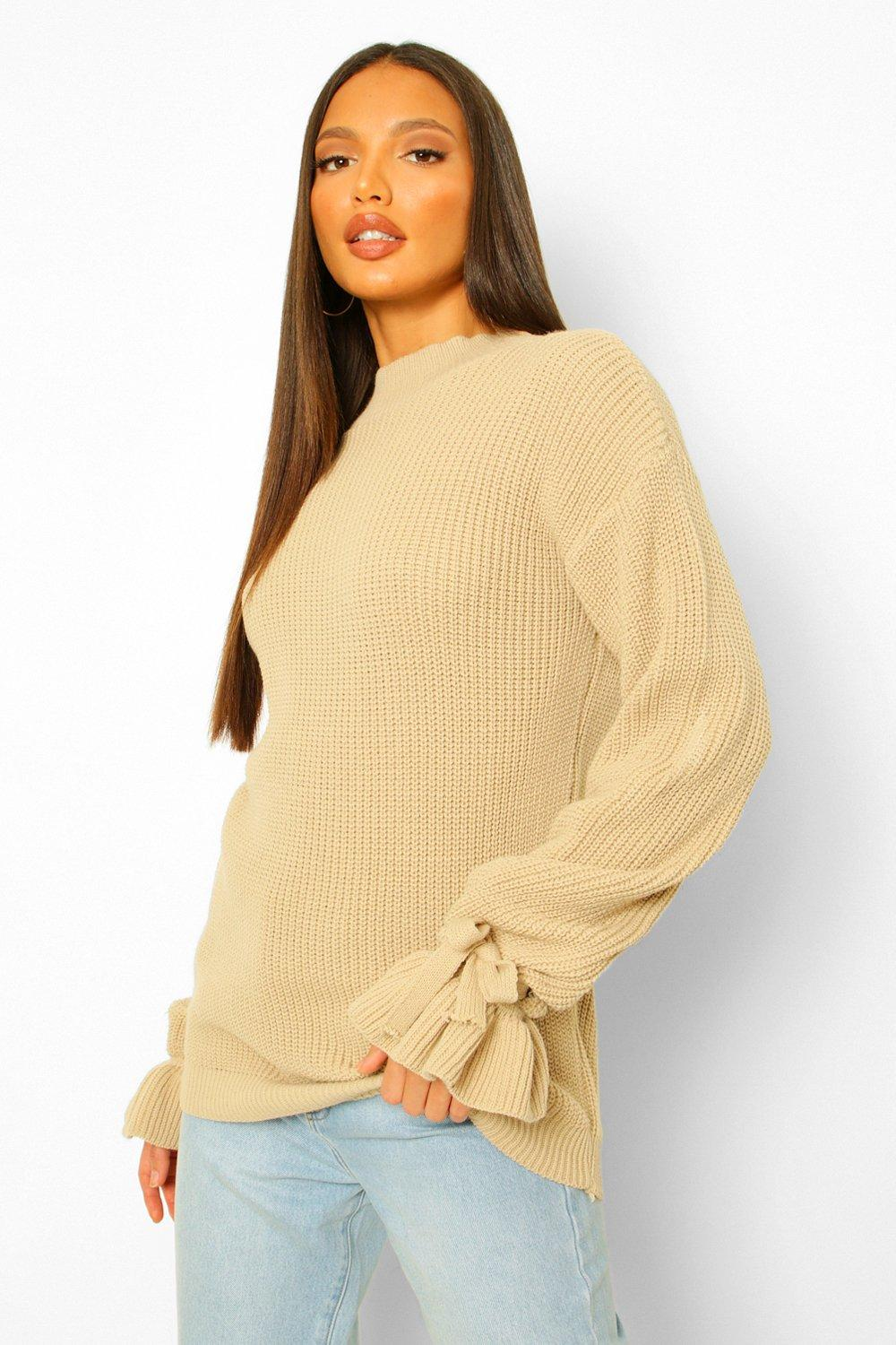Vintage Sweaters, Retro Sweaters & Cardigan Womens Tall Bell Sleeve Knitted Sweater - Beige - M $14.00 AT vintagedancer.com