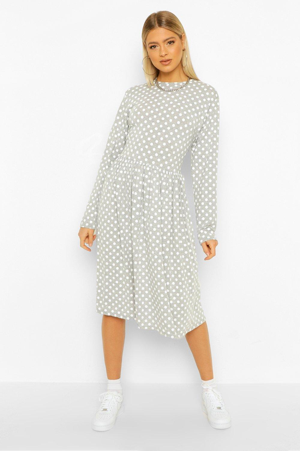 Cottagecore Clothing, Soft Aesthetic Womens Tall Polka Dot Long Sleeve Smock Midi Dress - Grey - 14 $15.20 AT vintagedancer.com