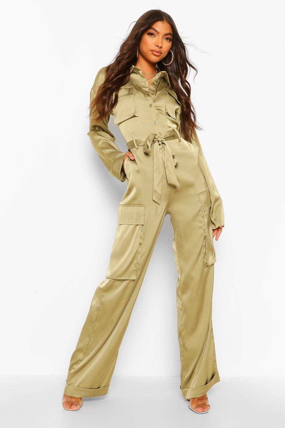Vintage Overalls & Jumpsuits Womens Tall Utility Luxe Cargo Jumpsuit - Green - 14 $19.20 AT vintagedancer.com