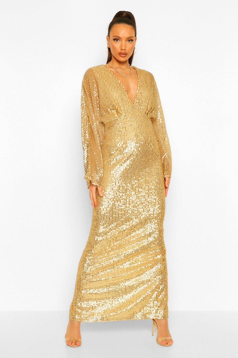 70s Prom, Formal, Evening, Party Dresses Womens Tall Sequin Batwing Sleeve Maxi Dress - Metallics - 14 $70.00 AT vintagedancer.com