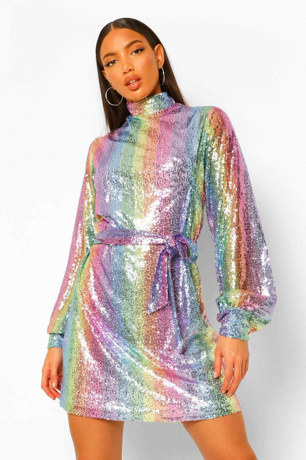 70s Prom, Formal, Evening, Party Dresses Womens Tall Rainbow Sequin Belted Balloon Sleeve Dress - Multi - 14 $70.00 AT vintagedancer.com