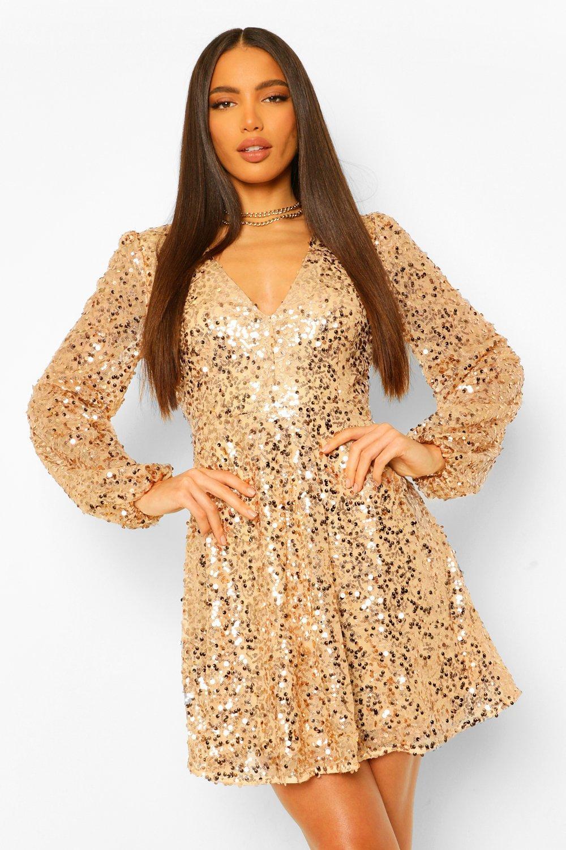 70s Sequin Dresses, Disco Dresses Womens Tall Sequin Belted Balloon Sleeve Skater Dress - Gold - 12 $28.00 AT vintagedancer.com