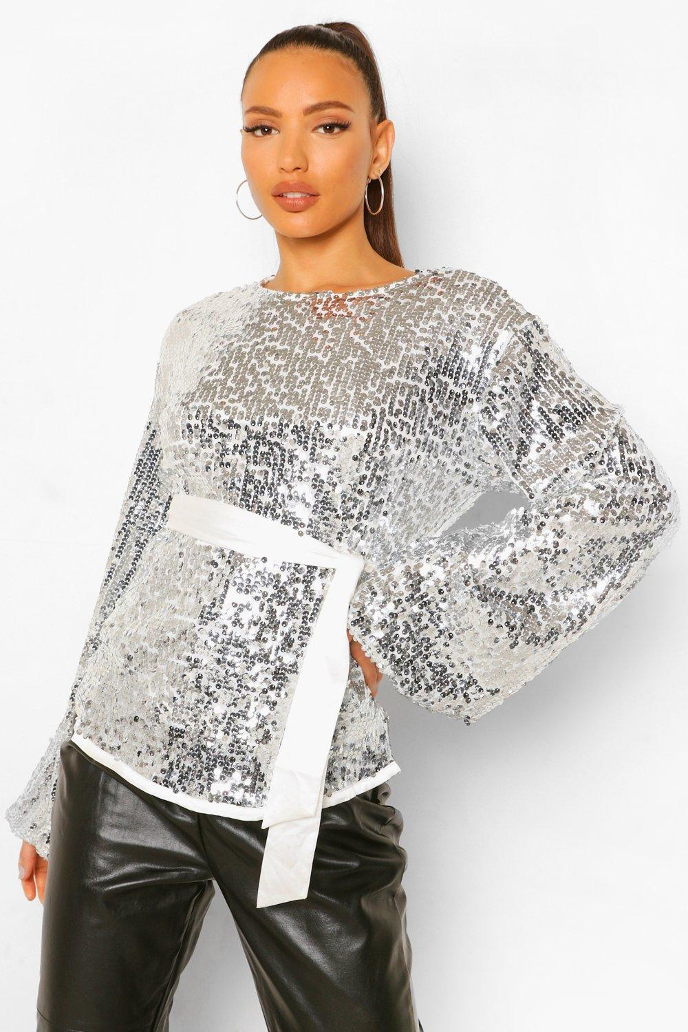 70s Clothes | Hippie Clothes & Outfits Womens Tall Sequin Balloon Sleeve Belted Top - Grey - 4 $14.00 AT vintagedancer.com