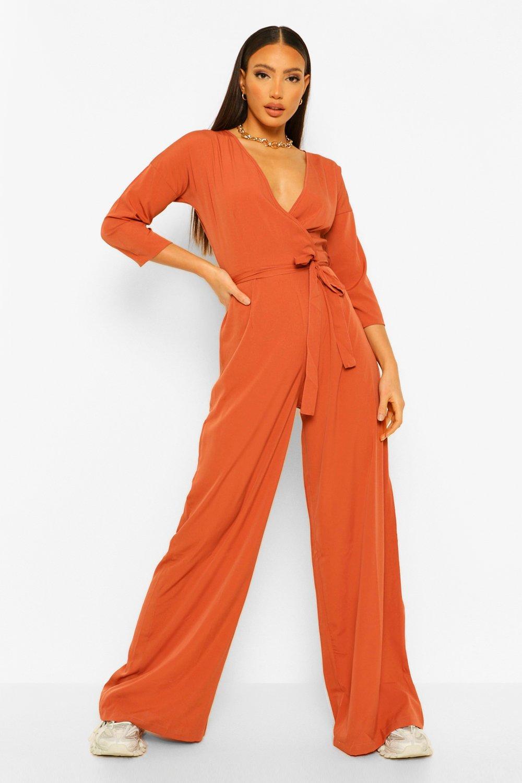 70s Jumpsuit | Disco Jumpsuits, Sequin Rompers Womens Tall Woven Wrap Tie Belt Jumpsuit - Orange - 14 $15.20 AT vintagedancer.com